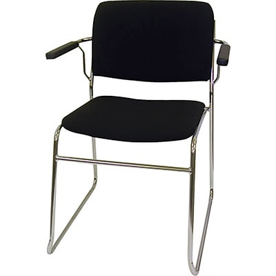 MLP Sled-Base Stack Chair with Arms; Black Fabric, Chrome Frame