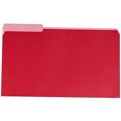 Quill Brand® Standard 3-Tab Colored File Folders, Legal, Assorted Tabs, Red, 100/Bx (741013RD)