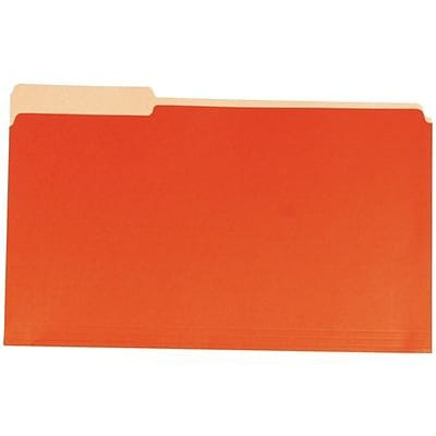 Quill Brand® Colored File Folders; 1/3-Cut Assorted Tabs, Legal Size, Orange, 100/BX