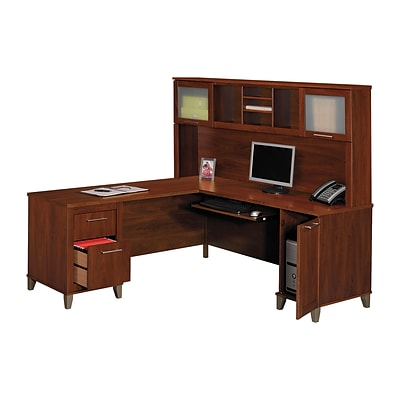 FREE Bush® Hutch When You Buy 1 Bush® Somerset Desk in Hansen Cherry Finish!