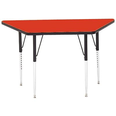 Correll® 30D x 30D x 60L Trapezoidal Heavy Duty Activity Table; Red High Pressure Laminate Top