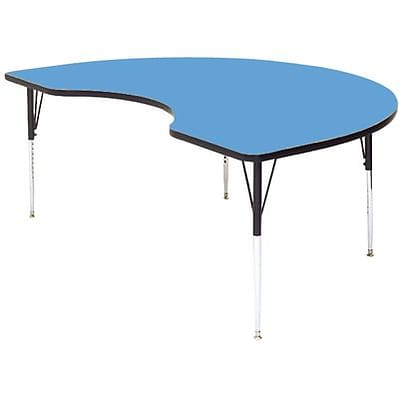 Correll® 48D x 72L Kidney Shaped Heavy Duty Activity Table; Blue High Pressure Laminate Top