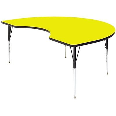 Correll® 48D x 72L Kidney Shaped Heavy Duty Activity Table; Yellow High Pressure Laminate Top