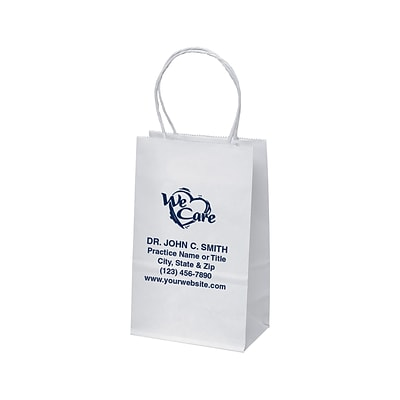 Paper Totes; White, 5x3, Imprinted
