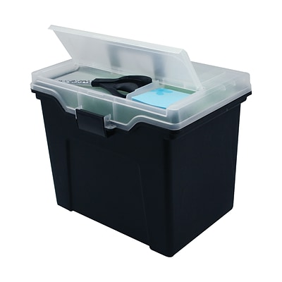 Iris® Portable Plastic File Box; Black