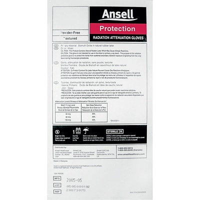 Ansell Radiation Attenuation Gloves; Size 9, 1 Pair/Pack