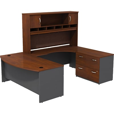 Bush® Westfield Collection in Hansen Cherry; 72W U-Workstation with Lateral File and Hutch