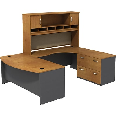 Bush® Westfield Collection in Natural Cherry; 72W U-Workstation with Lateral File and Hutch