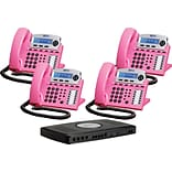 Xblue® X16 Self-Install Digital Telephone System Bundle; 4-Pack, Pink