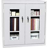 Grey Counter-Height Steel Clear View Storage Cabinet