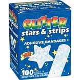 Glitter Stars And Strips Adhesive Bandages; 100 PCS