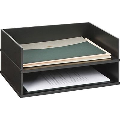 Victor Wooden Desktop Stackable Paper Tray Letter Midnight Black