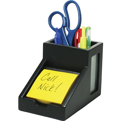 Victor® Wooden Desktop Pencil and Pen Cup and Note Holder; Midnight Black