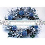 Icy Blue Wreath Holiday Cards w/Self-Seal Envelope