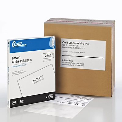 Quill® Address Labels; White, 8-1/2x5-1/2, 200 Labels