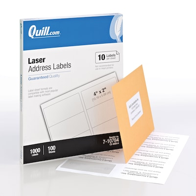 "Quill® Laser Address Labels; White, 2x4"", 1000 Labels, Comparable to Avery 5163"