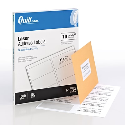 Quill® Laser Address Labels; White, 2x4, 1000 Labels, Comparable to Avery 5163