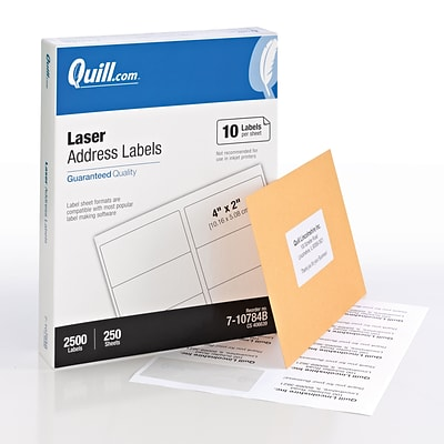 Quill® Bulk Pack Laser Address Labels; White, 2x4, 2500 Labels, Comparable to Avery 5163