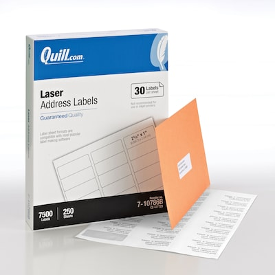 "Quill® Bulk Pack Laser Address Labels; White, 1x2-5/8"", 7500 Labels, Comparable to Avery 5160 & Avery 5960"