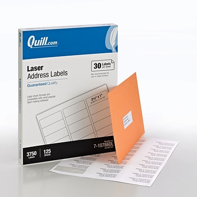 Quill Brand® Laser Address Labels, 1 x 2-5/8, White, 3750 Labels Per Box (710786DL)