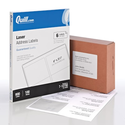 "Quill® Laser Address Labels; White, 3-1/3x4"", 600 Labels, Comparable to Avery 5164"