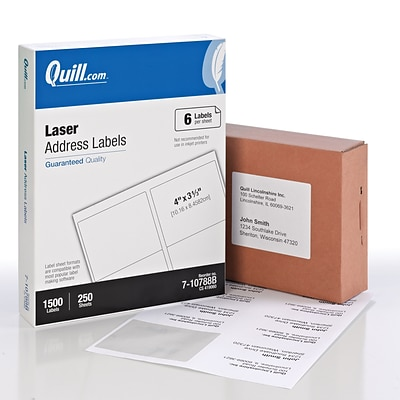 Quill Brand® Laser Address Labels, 3-1/3 x 4, White, 1500 Labels Per Box (710788B)