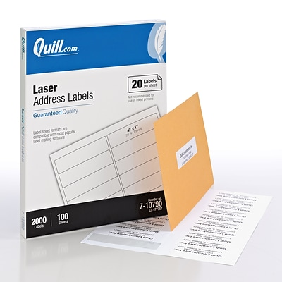 Quill® Laser Address Labels; White, 1x4, 2000 Labels, Comparable to Avery 5161