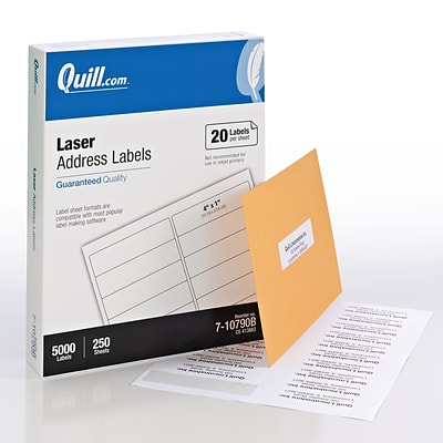 Quill® Bulk Pack Laser Address Labels; White, 1x4, 5000 Labels, Comparable to Avery 5161