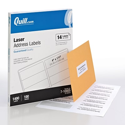 Quill Brand® Laser Address Labels, 1-1/3 x 4, White, 1400 Labels Per Box (710805)