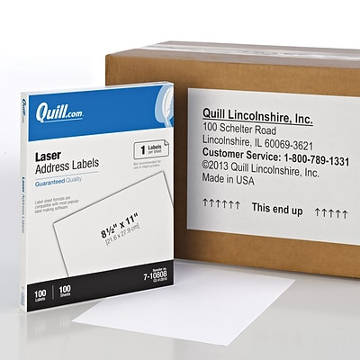 Quill Brand® Laser Address Labels, 8-1/2 x 11, White, 100 Labels Per Box (710808)