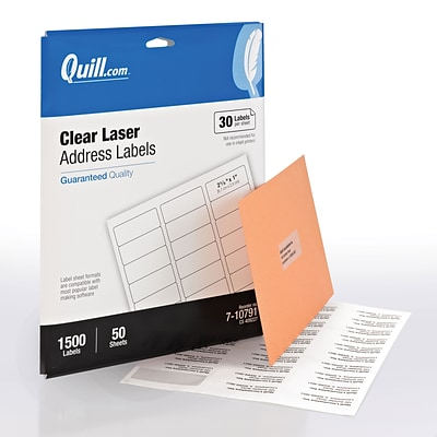 Quill® Address Labels; Clear, 1x2-5/8, 1500 Labels, Comparable to Avery 5660