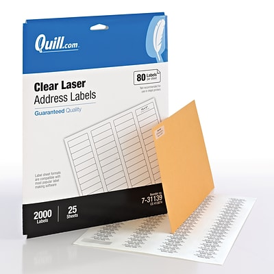Quill® Return Address Labels; Clear, 1/2x1-3/4, 2000 Labels, Comparable to Avery 5667