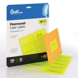 Quill Brand® Colored Address Labels; Fluorescent Yellow, 2Hx4W, 300 Labels, Comparable to Avery 59