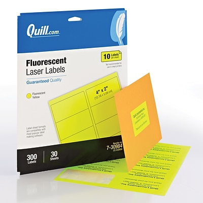 Quill Brand® Colored Address Labels; Fluorescent Yellow, 2Hx4W, 300 Labels, Comparable to Avery 5978