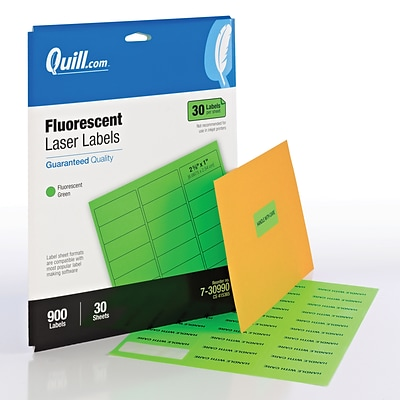Quill Brand® Laser Colored Address Labels; Fluorescent Green, 1x2-5/8, 900 Labels, Comparable to Avery 5971