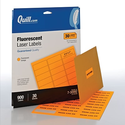 Quill Brand® Laser Colored Address Labels; Fluorescent Orange, 1x2-5/8, 900 Labels