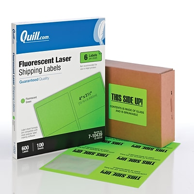 Quill Brand® Laser Shipping Labels, 3-1/3 x 4, Fluorescent Green, 600 Labels Per Box (710439)