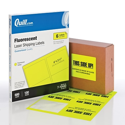 Quill Brand® Laser Shipping Labels, 3-1/3 x 4, Fluorescent Yellow, 600 Labels Per Box (710440)