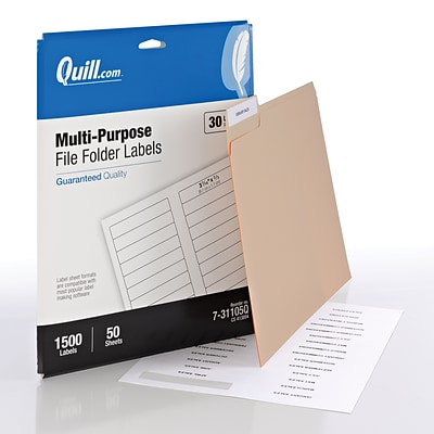 Quill Brand® Laser/Inkjet File Folder Labels, 2/3 x 3-7/16, White, 30 Labels/Sheet, 50 Sheets/Box (Comparable to Avery 8366)