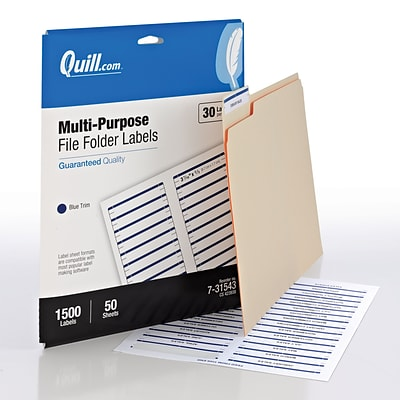 Quill Brand® Laser/InkJet File Folder Labels, 2/3 x 3-7/16, Blue Trim, 1500 Labels Per Box (731543)