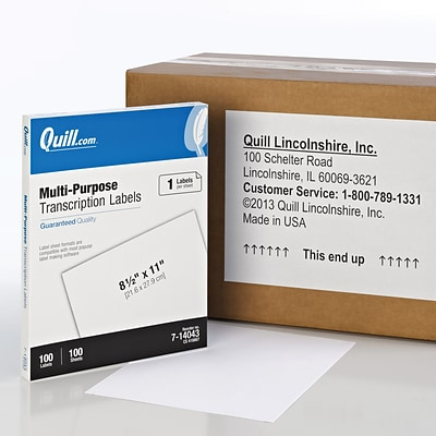 Quill Brand® Laser/Inkjet Transcription Labels, 8-1/2 x 11, White, 1 Label/Sheet, 100 Sheets/Box (714043)