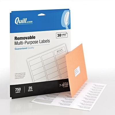 Quill® Removable Multipurpose Print Labels; White, 1x2-5/8, 750 Labels, Comparable to Avery 6460