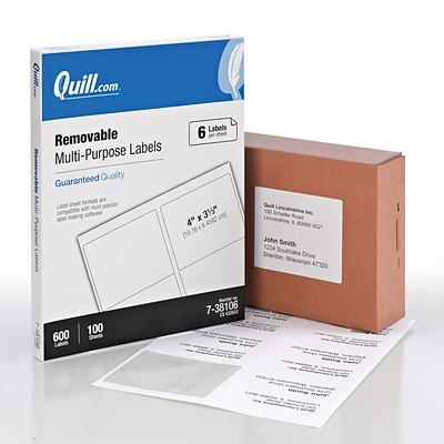 Quill Brand® Laser/InkJet Multi-Purpose Labels, 3-1/3 x 4, White, 600 Labels Per Box (738106)