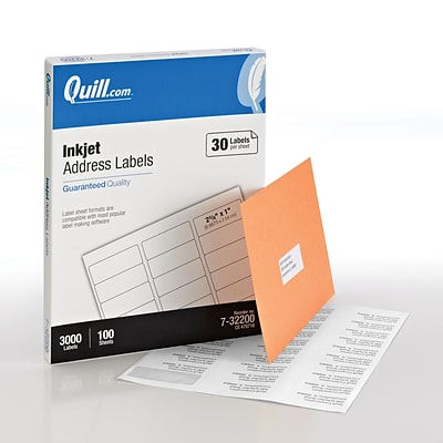 Quill Brand® Inkjet Address Labels, 1 x 2-5/8, White, 30 Labels/Sheet, 100 Sheets/Box (Comparable to Avery 8460)