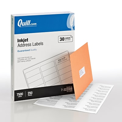 Quill Brand® Inkjet Address Labels, 1 x 2-5/8, White, 30 labels/Sheet, 250 Sheets/Box (732200B)