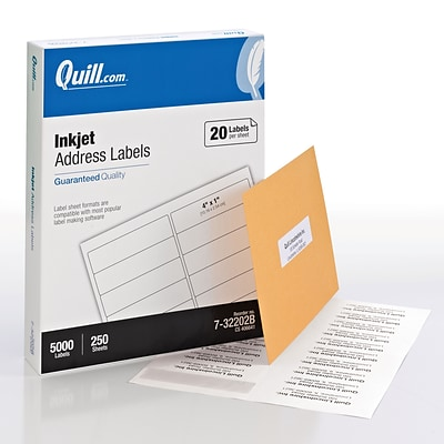 Quill® Bulk Pack InkJet Address Labels; White, 1x4, 5000 Labels