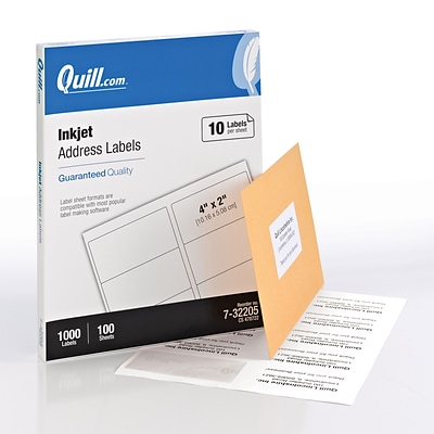 quill inkjet address labels white 2x4 1000 labels comparable