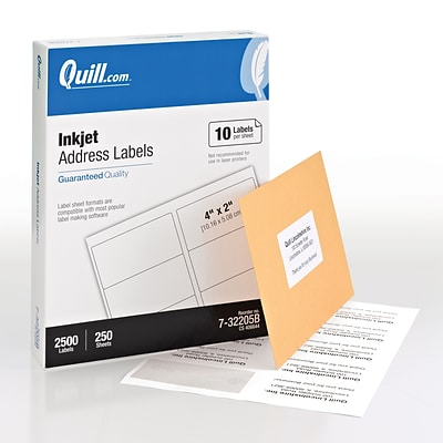 Quill Brand® Inkjet Address Labels, 2 x 4, White, 10 Labels/Sheet, 250 Sheets/Box (732205B)