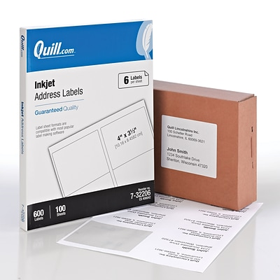 Quill Brand® Inkjet Address Labels, 3-1/3 x 4, White, 6 Labels/Sheet, 100 Sheets/Box (732206)