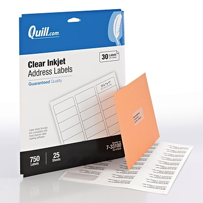 Quill® Address Labels; Clear, 1x2-5/8, 750 Labels, Comparable to Avery 8660
